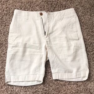 White JCrew Linen Shorts Mens